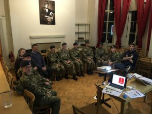workshop with a group of 8 air cadets and their mentors in a room with presentation on a projector